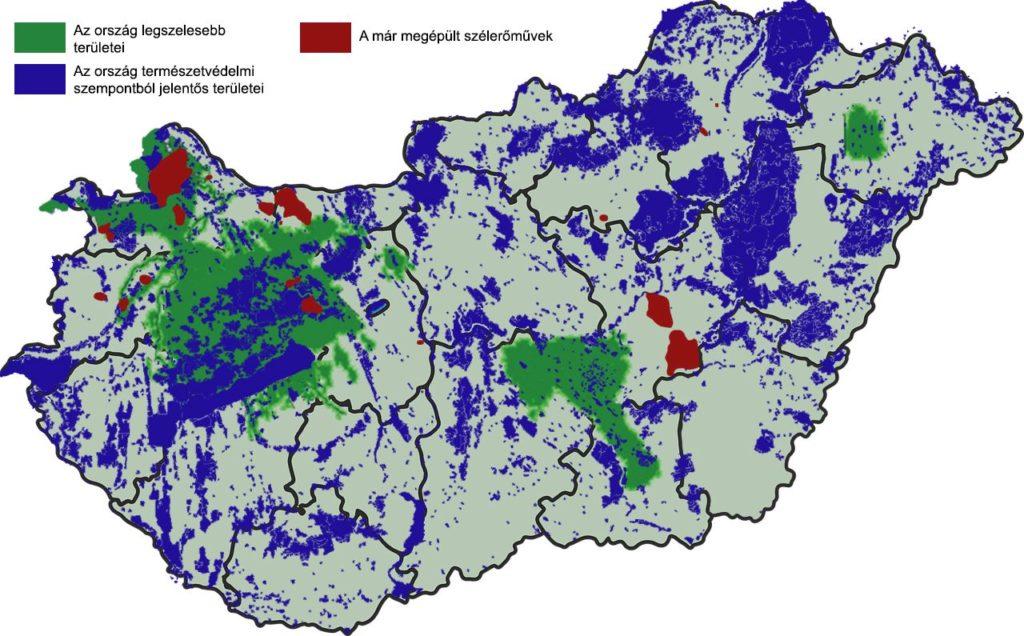 Magyar szélerőművek és természetvédelmi területek térképe