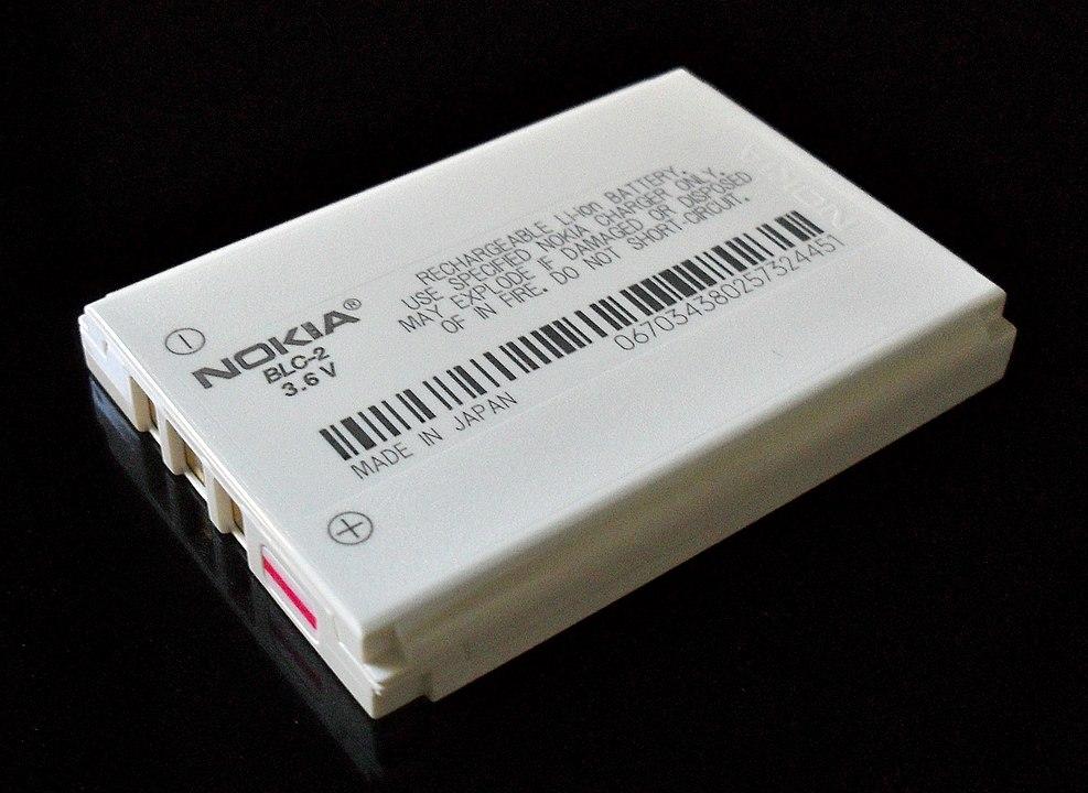 """Az """"elpusztíthatatlan"""" Nokia 3310 lítium-ion (Li-ion) akkumulátora. Forrás: wikipedia"""