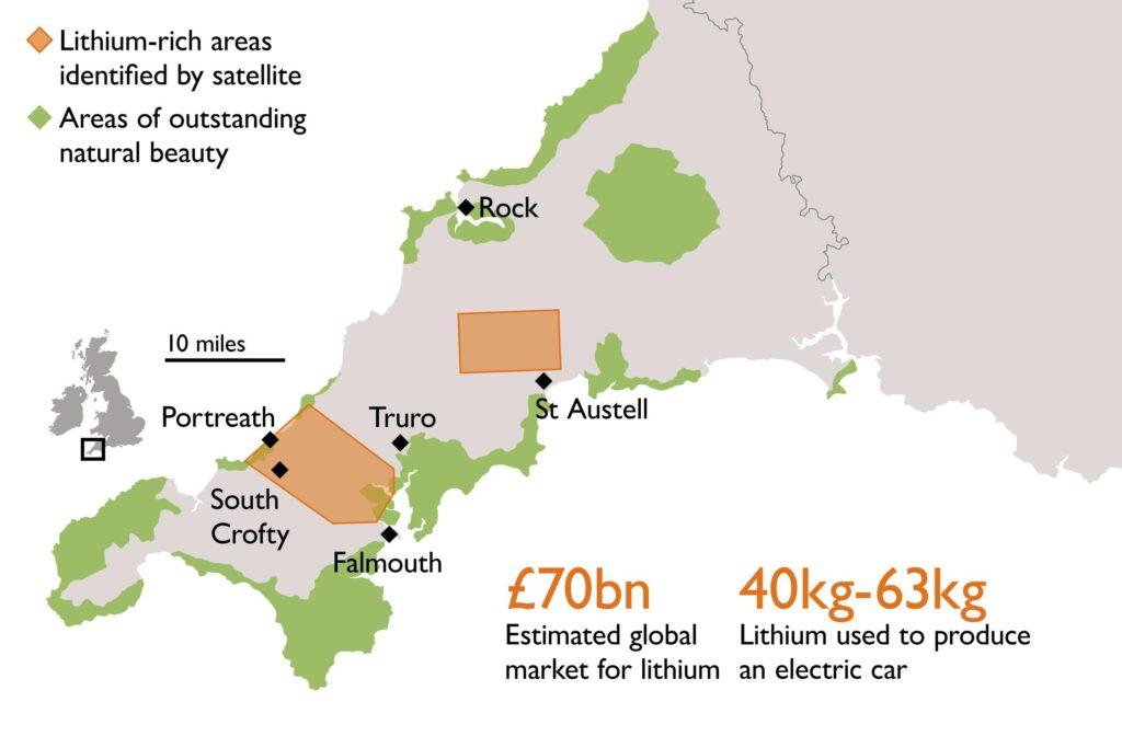 A narancssárgás színnel jelölt régiókban koncentrálódik a cornwalli lítium. Forrás: thetimes.co.uk
